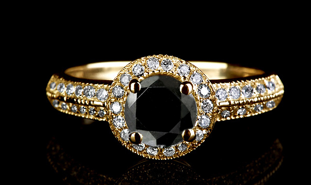 TOP AAA 2 50 CT REAL BLACK & WHITE VS DIAMOND 14K GOLD SOLITAIRE ENGAGEME